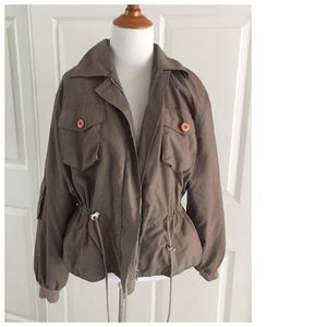 Brown cargo style jacket with drawstring waist M